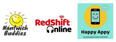 Nantwich Buddies, Redshift Online and Happy Appy logos